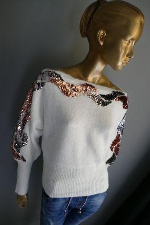 Golden Days Paris sweter alpaka - włochacz - cekiny Uni
