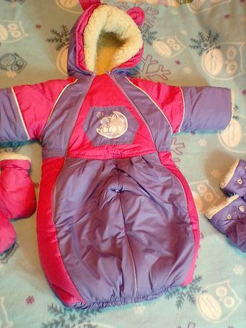 Зимний детский комбинезон-трансформер на овчине для девочки