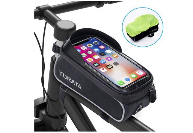 Suporte para Bicicleta / Mota com bolsa impermeável Táctil Novo