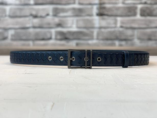 Мужской синий кожаный ремень пояс Боттега Gucci Bottega Veneta r104