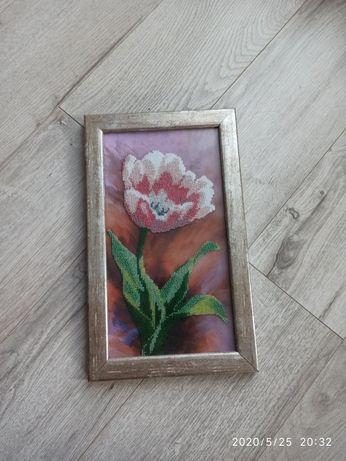Картина бісером квітка  ручна робота