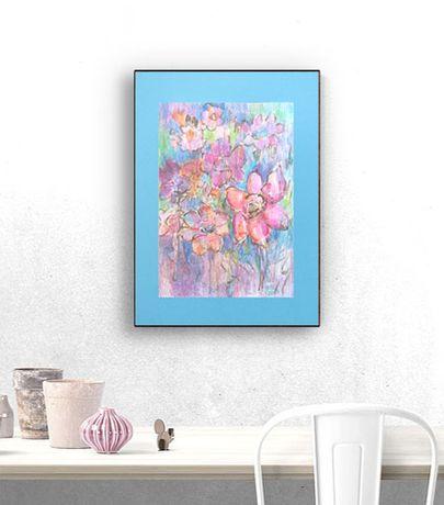 pastelowy rysunek z kwiatami, łąka obraz 30x40, kwiaty akwarela malowa