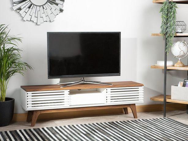Móvel de TV branco e castanho DETROIT - Beliani