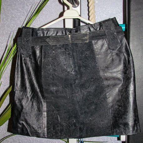 кожаная женская мини-юбка
