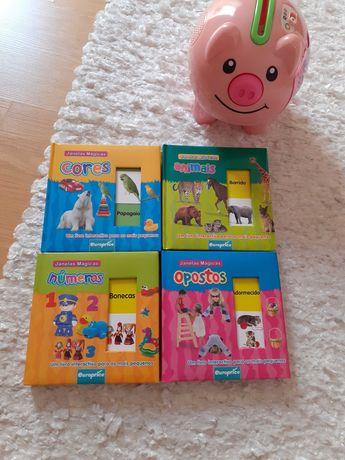 Livros para bebés com janelas interativas