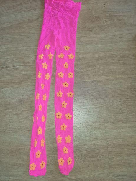 Neonowe różowe rajstopki dla dziewczynki 8-13 lat rozciągliwe nowe