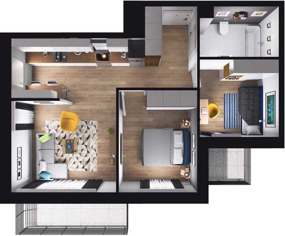 Inteligentne mieszkanie / 49 m kw / 3 pokoje / Nad jeziorem