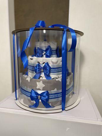 Торт из подгузников, подарок на выписку, крестины, новорожденному