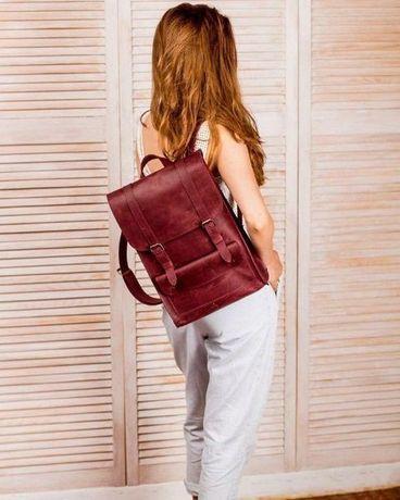 Кожаный рюкзак для ноутбука женский, жіночий шкіряний портфель, ранець