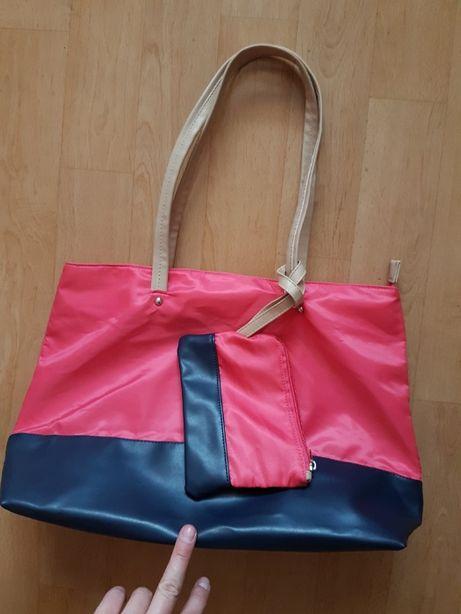 różowo granatowa torebka shopper z kosmetyczką fuksja torba na zakupy