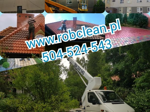Mycie Malowanie Elewacji, podnośnik koszowy 20m Mycie Dachów, Kostki