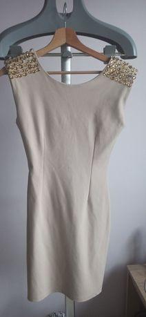 Damska, beżowa sukienka, rozmiar S