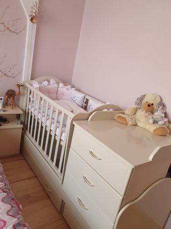 """Дитяче ліжко-трансформер з комодом, ящиками і маятником 3 в 1 """"Серце"""""""
