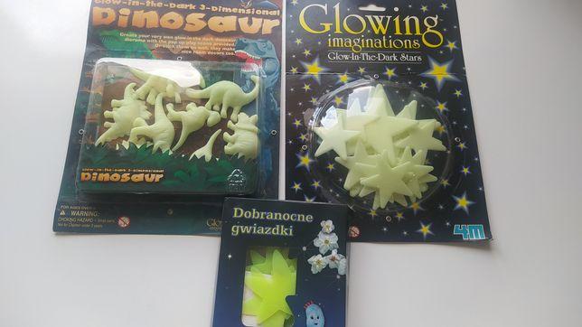 Zestaw naklejek świecących w ciemności: gwiazdy, dinozaury