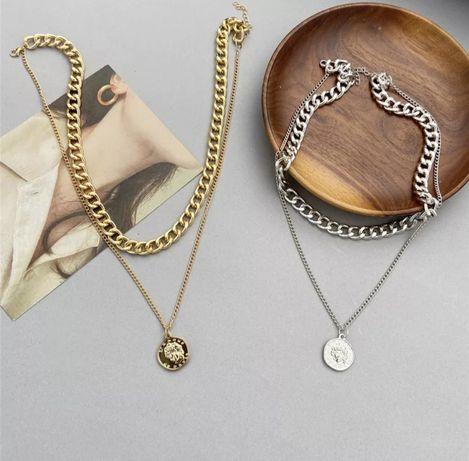 Цепь на шею. Золотое и серебряное ожерелье.