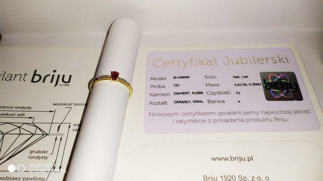 Pierścionek złoty z rubinem i brylantami Briju
