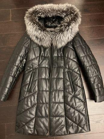 Кожаный пуховик,куртка