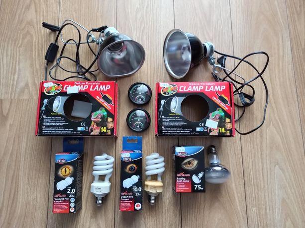 akcesoria do terrarium - 2 lampy, 3 żarówki grzewcze i 2 termometry