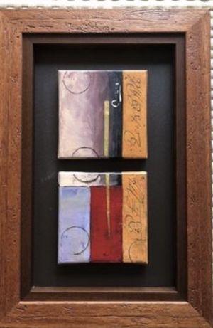 Quadro com moldura em madeira e ao centro tela pintada