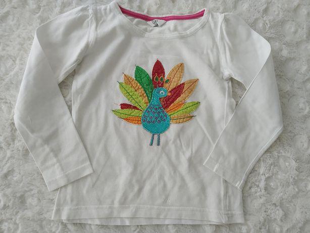 biała bluzka z długim rękawem KOLOROWY PAW rozmiar 110