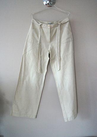biale elganckie spodnie jasne kremowe materialowe 44 46 XXXL proste