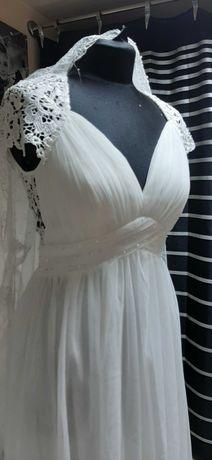 Suknia ślubna 38 ivory gipiura