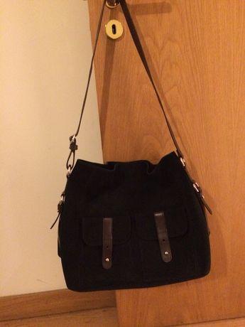 Bolsa de camurça azul escura, 100% pele, UTERQÜE, como NOVA!