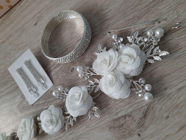 Zestaw ślubny: kolczyki, bransoletka, ozdoba do włosów