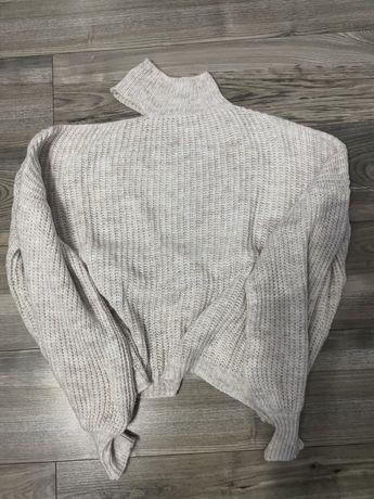 Sweterek z chokerem, odkryte ramię M/L