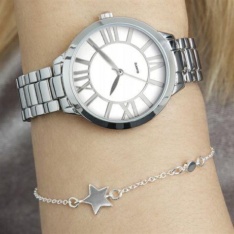Zegarek damski na bransolecie srebrny/złoty
