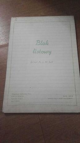 Stary zeszyt, blok listowy A4 Prl gładki
