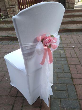 Dekoracja na krzesła ślub do kościoła 4 szt .pokrowiec. szarfa