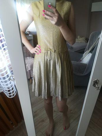 złota sukienka z plisowanym dołem, rozm. S