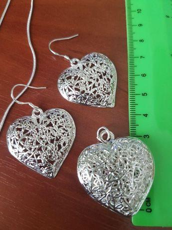 Комплект Сердце сережки цепочка кулон