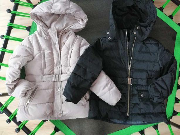Dwie kurtki zimowe Zara dla bliźniaczek 116 cm