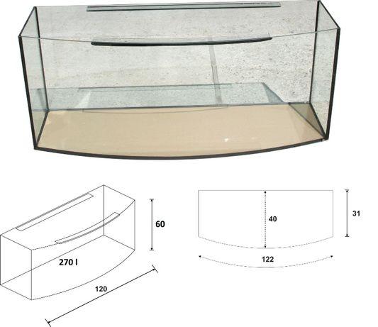 Akwarium 120x40x60 owalne 270 litrów