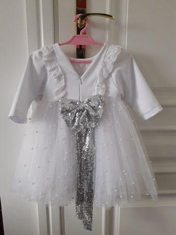Biała sukienka roczek chrzest tiul 80/86 12 miesięcy handmade