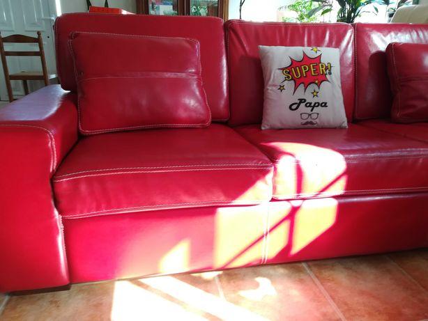 Sofa cama em pele de qualidade.
