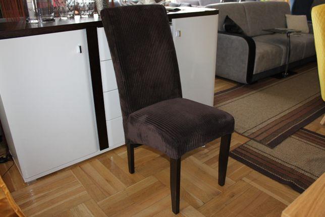 Krzesła -50% z wysokim oparciem brązowe jak sztruks ALAN dostępne 4 sz