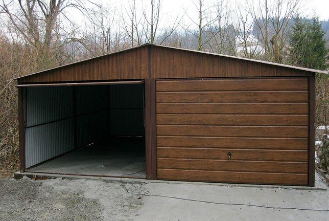 Garaże Blaszane Drewnopodobny Orzech Premium 6x5 Dwustanowiskowy