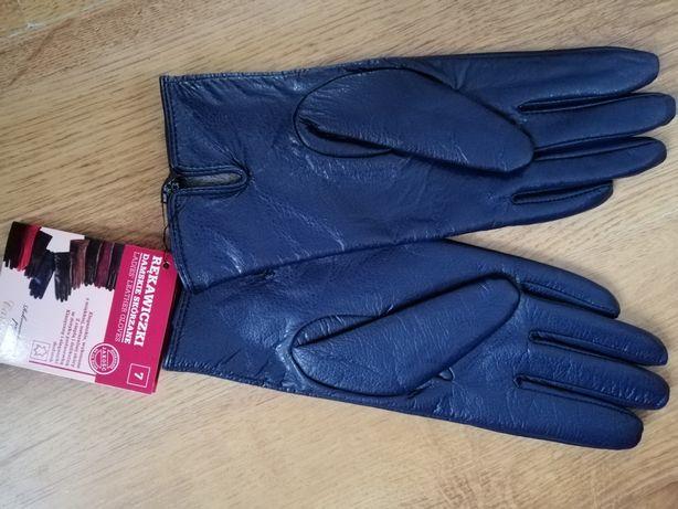 Rękawiczki nowe skóra futerko 7r.