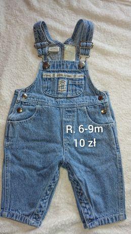 Zestaw ogrodniczki jeans 6-9m