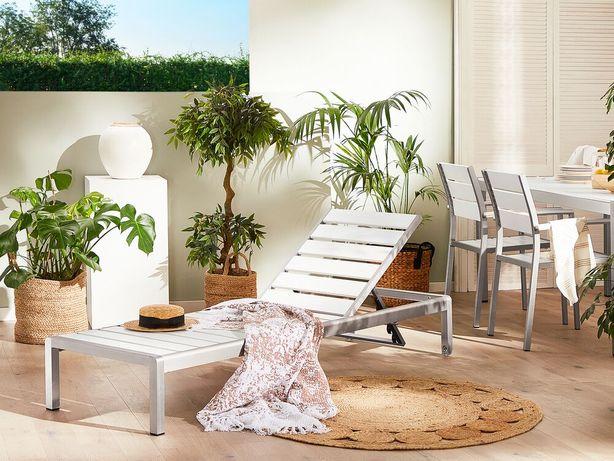 Espreguiçadeira de jardim em alumínio e madeira sintética branca NARDO - Beliani
