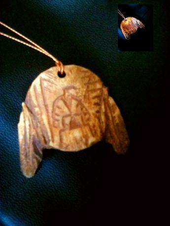 Череп.Птица Феникс. Перо-индейский символ.Кость.
