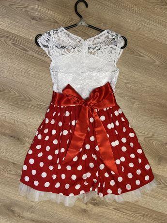 Детское платье с юбкой в горошек