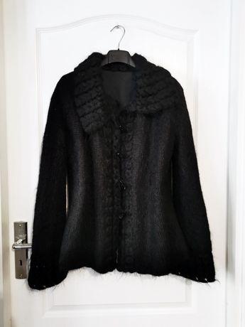 sweter moherowy czarny xl hafty szerokie rekawy boho narzutka