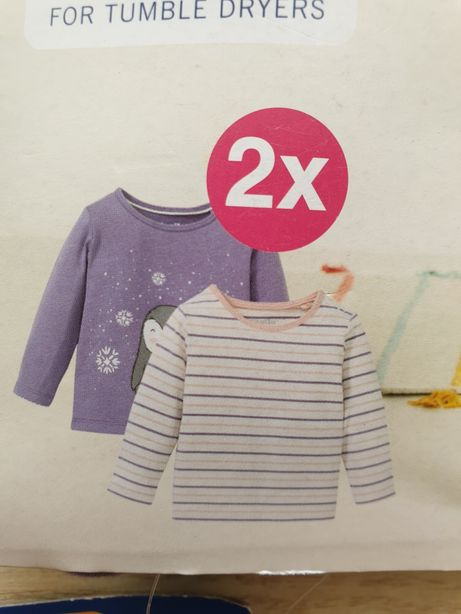 Nowe 2x bluzka z długim rękawem 100% bawełna 12-24 Lupilu 86/92 koszul