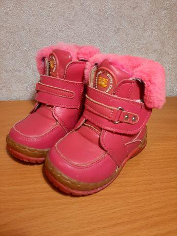 Детские ботинки, натуральный мех, и кожа