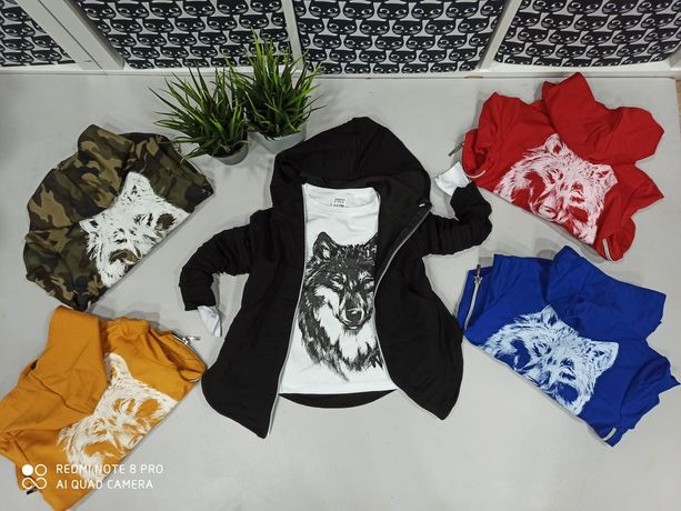 Dres wilk 3 częściowy 98-140 5 kolorów
