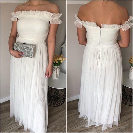Suknia ślubna 40 L biała sukienka długa gładka tiul odkryte ramiona